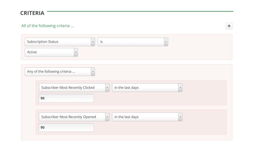 GreenArrow Email Advanced Segmentation--Subscriber Engagement Grouping