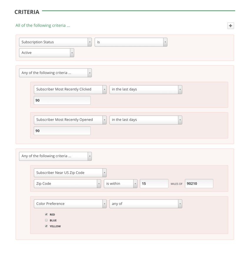 GreenArrow Email Advanced Segmentation--Subscriber Preferences